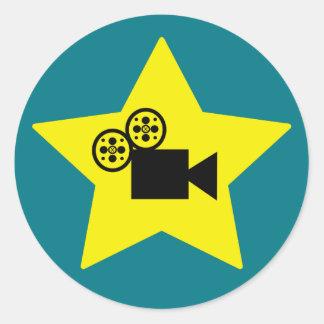 Hollywood star camera round sticker matte