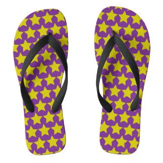 Hollywood star flipflops (women) (purple & yellow) thongs