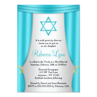 Hollywood Star of David Teal Silver Bat Mitzvah Card