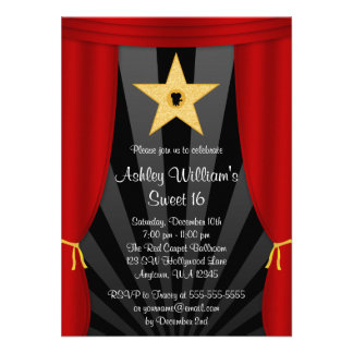 Hollywood Star Red Curtains Sweet 16 Birthday Invitations