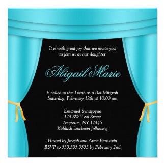 Hollywood Teal Blue Curtain Bat Mitzvah Square Personalized Invite