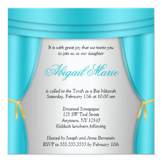 Hollywood Teal Silver Curtain Bat Mitzvah Square 13 Cm X 13 Cm Square Invitation Card
