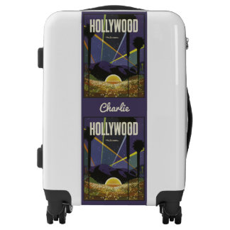 Hollywood USA vintage travel custom name luggage