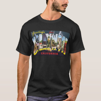 HOLLYWOOD vintage travel luggage label T-Shirt
