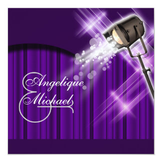 Hollywood wedding purple stars card