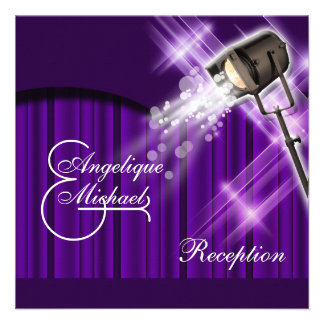 Hollywood wedding reception purple custom invite