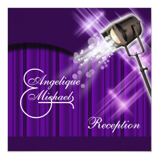 Hollywood wedding reception purple custom invite