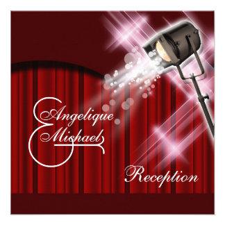 Hollywood wedding reception red black white custom invite