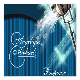 Hollywood wedding response stage theatre 13 cm x 13 cm square invitation card