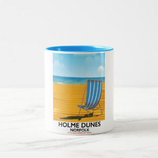 Holme Dunes Norfolk travel poster Two-Tone Coffee Mug