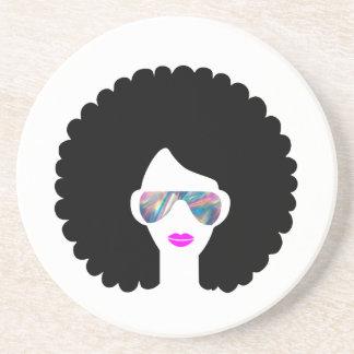 hologram afro girl coaster