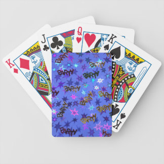 Holographic Party confetti and blue stars Bicycle Playing Cards