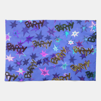 Holographic Party confetti and blue stars Towel