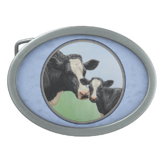 Holstein Cow and Calf Oval Belt Buckle