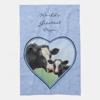 Holstein Cow and Cute Calf Blue Heart Tea Towel