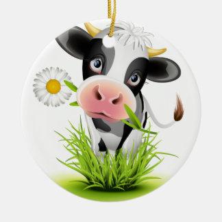Holstein cow in grass ceramic ornament