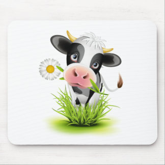 Holstein cow in grass mouse pad