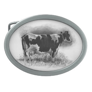 Holstein Cow: Pencil Drawing: Realism: Dairy, Farm Oval Belt Buckles