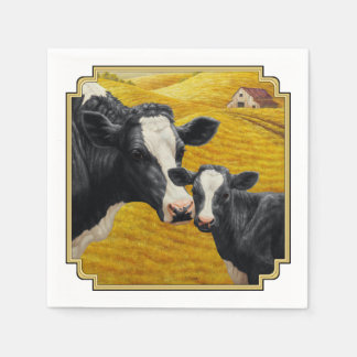 Holstein Cows and Old Wood Barn Paper Serviettes