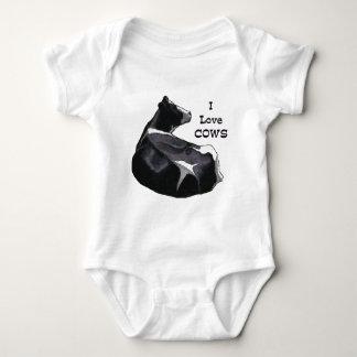 Holstein Dairy Cow: I Love Cows: Original Art Baby Bodysuit