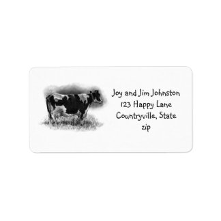 Holstein Dairy Cow in Pencil: Farm Address Label