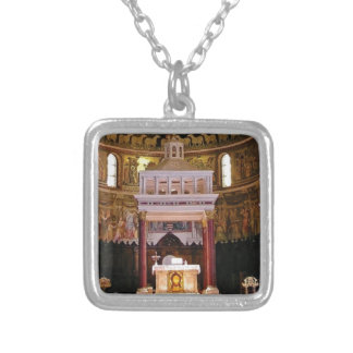 holy alter in church silver plated necklace
