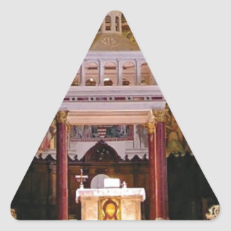 holy alter in church triangle sticker