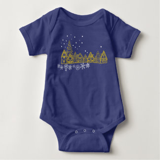 Holy and Snowy on Christmas Night Silhouette Baby Bodysuit
