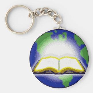 Holy Bible & Globe Basic Round Button Key Ring