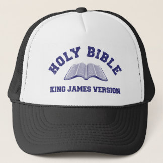 Holy Bible King James Version in blue distressed Trucker Hat