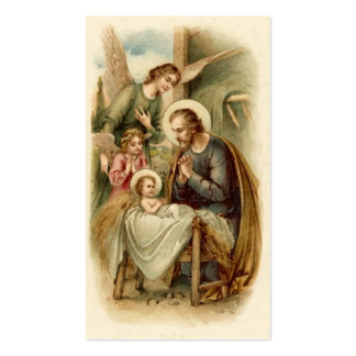 Holy Cards (Scripture): St. Joseph Nativity Business Card Template