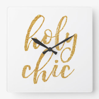 Holy chic gold glitter square wall clock