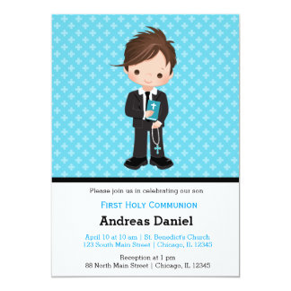 Holy Communion boy 13 Cm X 18 Cm Invitation Card