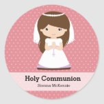 Holy Communion Girl * Choose your background Round Sticker