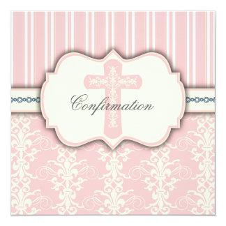 Holy Confirmation Vintage Pink Damask Invitation