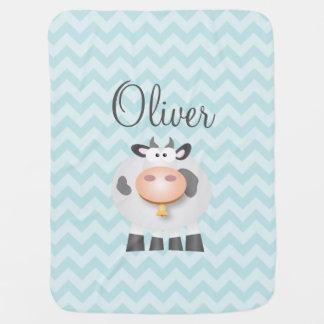 Holy Cow Funny Cute Farm Animal Cartoon Unisex Receiving Blankets