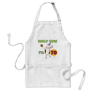 Holy Cow I'm 70 Birthday Tshirts and Gifts Adult Apron