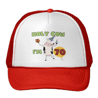 Holy Cow I'm 70 Birthday Tshirts and Gifts Trucker Hats