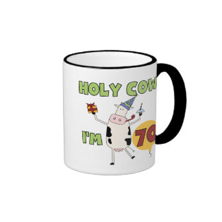 Holy Cow I'm 70 Birthday Tshirts and Gifts Coffee Mugs