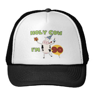 Holy Cow I'm 90 Birthday Tshirts and Gifts Mesh Hats
