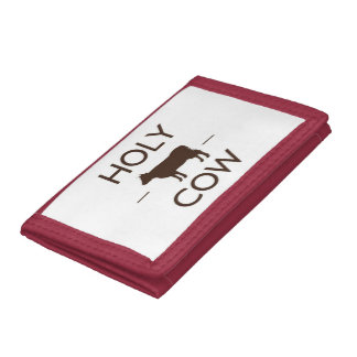 HOLY COW Red TriFold Nylon Wallet