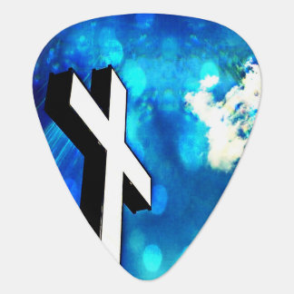 Holy Cross Blue Abstract Guitar Pick