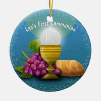 Holy Eucharist Gifts Add Name Godchild Communion Ceramic Ornament