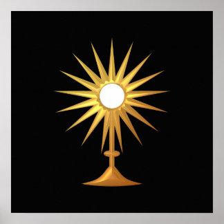 Holy Eucharist in golden Monstrance Poster