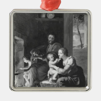 Holy Family, after 1650 Silver-Colored Square Decoration