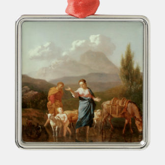 Holy family at a stream Silver-Colored square decoration