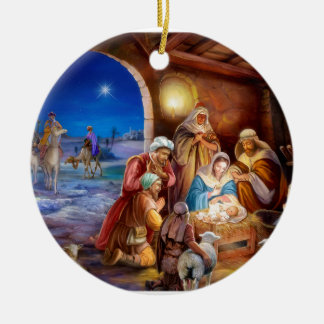 Holy family ceramic ornament