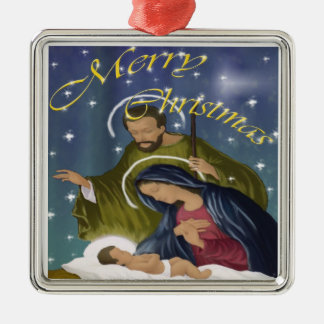Holy Family Christmas Silver-Colored Square Decoration