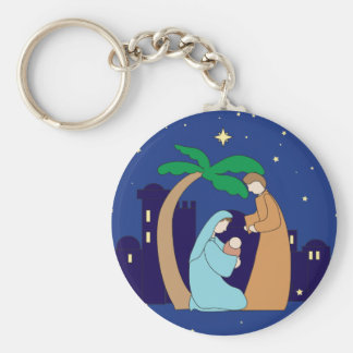 Holy Family Nativity Christmas Christian Religious Basic Round Button Key Ring