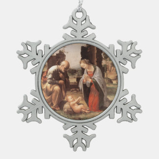 Holy Family Pewter Snowflake Christmas Ornament